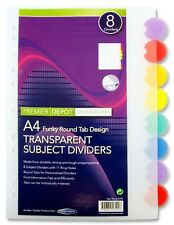 NEW Premier PVC A4 Funky Round Tab Transparent Subject Divider 8 Dividers