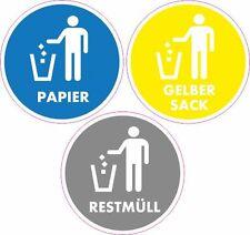 Set Aufkleber Mülltrennung Mülltonne Abfalltonne Mülleimer Abfalleimer 50mm 2100