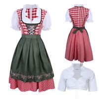 3pcs Dirndl Oktoberfest German Austrian Dress + Blouse Beer Maid Wench Costume