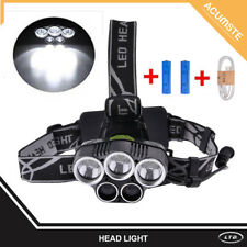 80000LM 5x LED Headlamp Headlight Rechargeable Light+USB Cable+18650 Battery USA