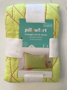 Target Pillowfort Triangle Stitch Sham Standard Pillowcase New Neon Yellow Pink