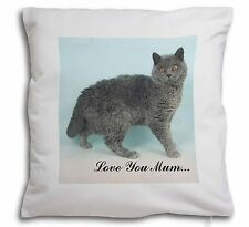 Selkirk Rex Cat 'Love You Mum' Soft Velvet Feel Cushion Cover Wit, AC-110lym-CPW