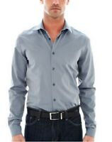 JF J. Ferrar Gray Size Large Slim Fit Casual L/S Iridescent Woven Shirt $50