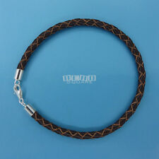 SALE Sterling Silver 4mm Brown Braided Genuine Leather Cord Bracelet Lobster 7.5