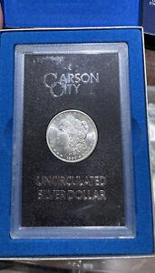 1890-CC Carson City Morgan Silver Dollar GSA Blast White Coin With Box RARE BP