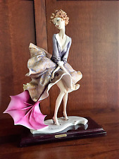 "Giuseppe Armani Figurine."" Girl with Umbrella Autumn"" Signed + Capodimonte Stamp"