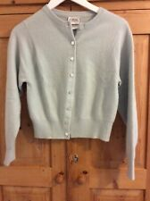 N Peal Womens 100% Pure Cashmere, Cropped Cardigan, Size S, Duck Egg Blue