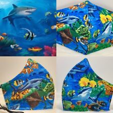 Life Under The Sea With Tropical Fish And Shark Designer Adult Face Mask