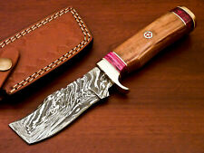 Rody Stan HAND MADE DAMASCUS TANTO BLADE HUNTING KNIFE - OLIVE WOOD - PW-5154