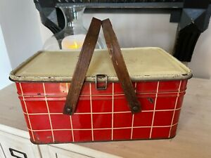 Vintage Tin Metal Picnic Basket With Wood Handles RED Checked