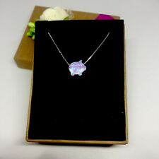 Opal Simulant Pendant with S925 Sterling Silver Chain Necklace: Piggy Bank