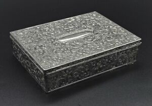 VINTAGE ART NOUVEAU EMBOSSED CIGARTTE CIGAR TRINKET CUFFLINK BOX (DAMAGED)