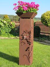 4Eck Säule 3D Blume Kugel Säule Edelrost Metall Gartendeko Rost Edelstahl Kugel