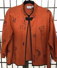 Chico's Shirt Jacket Size 2 Silk Asian Inspired Rust with Black Lanterns