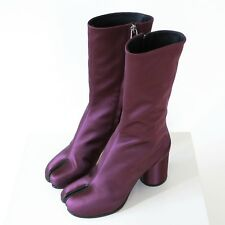 MAISON MARTIN MARGIELA split toe purple bordeaux satin tabi boots 39.5 / 9.5 NEW