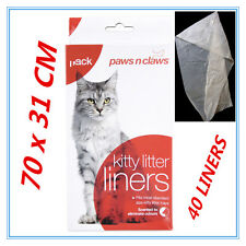 40 X Cat Kitty Litter Liners Scented Bags Liner White PAWS N CLAWS BULK BUY FD