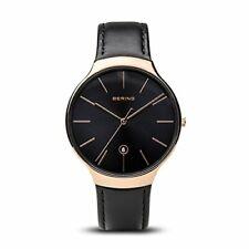 Bering Unisex Quartz Stainless Steel Black Leather Watch 13338-462