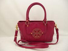 Tory Burch Amanda Pink Pebbled Leather Satchel Shoulder Bag Purse