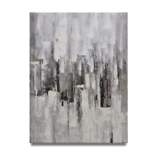 Ny Art - Black & Gray Palette Knife Abstract 36x48 Oil Painting on Canvas -Sale!