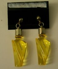 VINTAGE TURBULENCES YELLOW LUCITE MINI PERFUME BOTTLE PIERCED EARRINGS