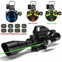 4-12X50 Hunting Rifle Scope w/ Green Laser Sight+4 Holographic Dot Reflex Sight