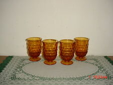 """4-PC INDIANA GLASS """"CUBE"""" AMBER 3 3/4"""" JUICE GLASSES/FLARED TOP/VINTAGE/SALE!"""