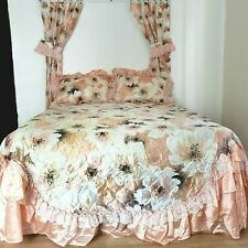 Vintage Beatrice Home Bedding Set 7pcs Full/Queen Ruffled & Lace Peach Floral