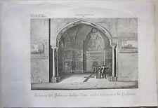 1845 INTERNO PALAZZO DELLA ZISA PALERMO Zuccagni Orlandini acquaforte originale