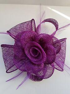 Beautiful Dark Purple sinamay feather & flower design facinator wedding 932