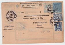 AUSTRIA ( CZECH ) WW I CENSORED PARCEL CARD TO TURKEY 1917