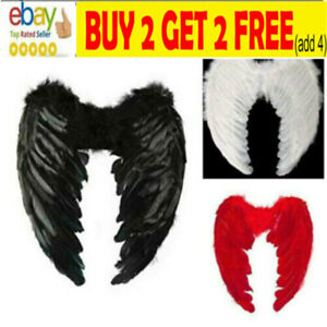 Feather Angel Wings Christmas Halloween Fancy Dress Costume Hen Night Party sa
