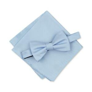 Alfani Men's Light Blue Solid Texture Bow Tie Pocket Square Set Silk $55 #416