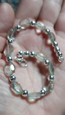 Natural Green Amethyst Faceted  0vals 23ct Silver Plated bracelet