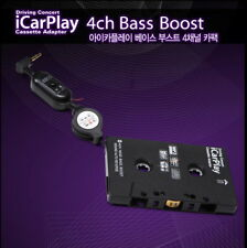 Car Cassette Adapter Connecting  4Ch Bass Boost Full Stereo  Low Noise  NEW