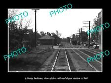 OLD LARGE HISTORIC PHOTO OF LIBERTY INDIANA THE RAILROAD DEPOT STATION c1940