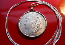"Antique 1878-1921 Morgan Silver Dollar Pendant on a 30"" 925 Silver Snake Chain"