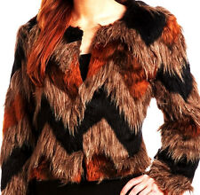 70s DiSCo SHAGGy FuZZy FauX FUR JACKET Orange BlaCK Zig ZaG CheVRoN Short Coat M