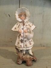 """Victorian bisque figurine ~ 5"""" Tall ~  Girl in Winter Coat ~ Gilded Decoration"""