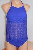 NWT Blue Rod Beattie Swimsuit Bikini 2pc Set Sz 6 Tankini  Crochet Twilight
