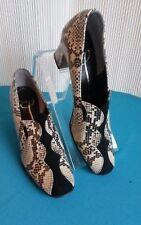 Orig 1960-1970 Retro Vtg Pump Heel 7 Faux Snakeskin Black/Tan Shoe Cool Quality