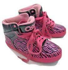 Girls Osiris Midtown Skateboarding Sneakers Black Pink Zebra Tiger Stripe Size 5