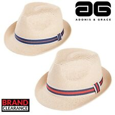 Straw Trilby with Ribbon Mens Ladies Fashion Summer Hat by A&G