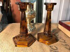 Pair of Antique Vintage 1920's English Davidson Cloud Glass Candlesticks