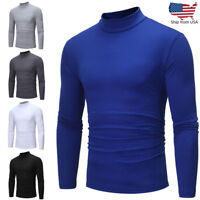 Mens Autumn Winter Pullover Polo Neck Turtleneck Long Sleeve T-shirt Top Blouse