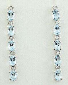 4.45 Carat Natural Aquamarine 14K Solid White Gold Diamond Earrings