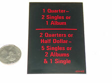 Vtg Rockola Juke-Box Modèle 454 Bas Quarts Dollars Simple Album Prix Carte VG