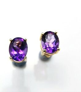 Natural African Amethyst Oval 3 CT Stud Earrings 925 Sterling Silvr Gold Plated