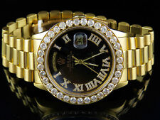 Mens Rolex 18K Yellow Gold Presidential Day-Date 18038 VS Diamond Watch 5.3 Ct