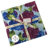 "Clothworks, Hydrangea Harmony, 10"" Fabric Quilting Squares, Layer Cake, B09+"