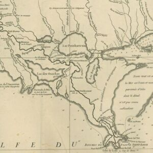 D'Anville Louisiana New orleans - original Map engraving 1752
